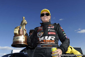 Erica Enders with Wally after Phoenix win